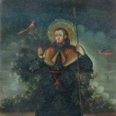 Arte: ÓLEO SOBRE LIENZO PEGADO A TÁBLEX SANTO ESCUELA COLONIAL SIGLO XVIII. Lote 236239160