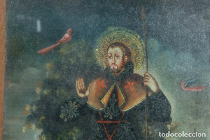 Arte: Óleo sobre lienzo pegado a táblex Santo Escuela colonial siglo XVIII - Foto 3 - 236239160
