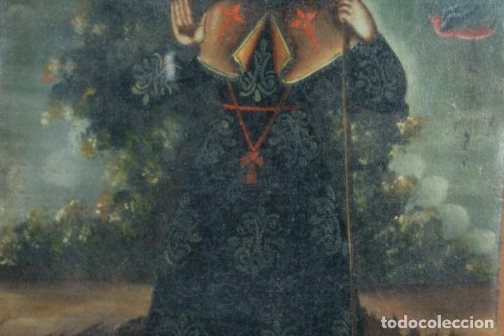 Arte: Óleo sobre lienzo pegado a táblex Santo Escuela colonial siglo XVIII - Foto 4 - 236239160
