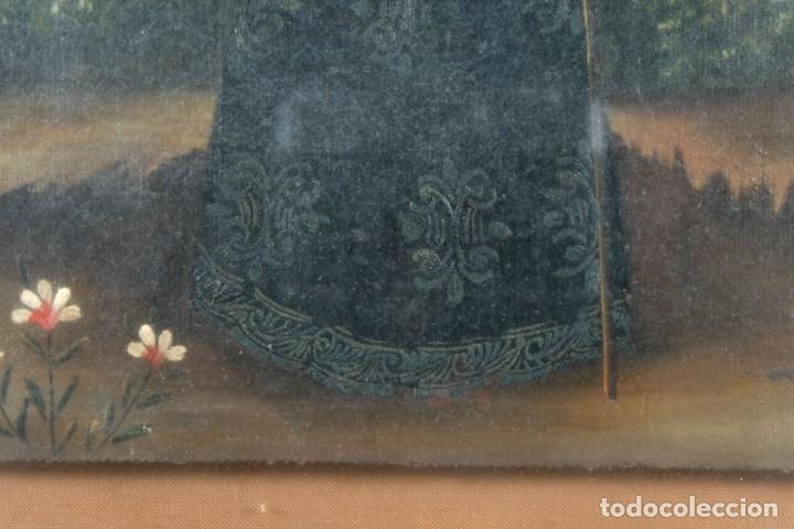 Arte: Óleo sobre lienzo pegado a táblex Santo Escuela colonial siglo XVIII - Foto 5 - 236239160