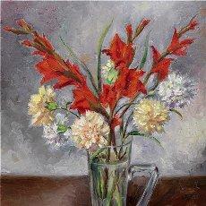 Arte: JOAQUIN ROLA VEGA 1916 - 1974 JARRA CON GLADIOLOS. Lote 236255055