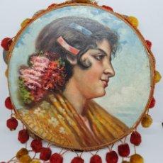 Arte: PRECIOSA MANOLA,GITANA OLEO COSTUMBRISTA PINTADA EN PANDERETA DEDICADA,1915. Lote 236261165