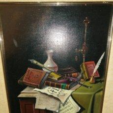 Arte: PAREJA DE BODEGONES DE LIBROS. ÓLEO SOBRE LIENZO. FIRMADOS.. Lote 236276555