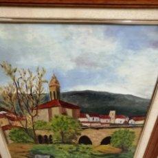 Arte: CUADRO AL ÓLEO SOBRE LIENZO PAISAJE CON EL PUEBLO VASCO. FIRMADO ARRIAGA.. Lote 236278995