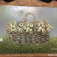 Arte: PEQUEÑO BODEGÓN, CANASTA CON FRUTOS, OLEO SOBRE TABLILLA ENTELADA. Lote 236369350