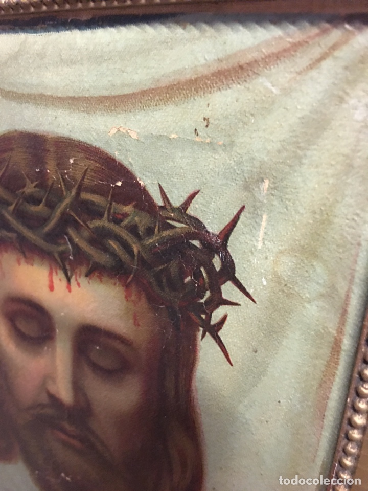 Arte: Antiguo óleo sobre lienzo, retrato de Jesucristo sangrando com corona de espinas, marco de madera - Foto 8 - 247275340