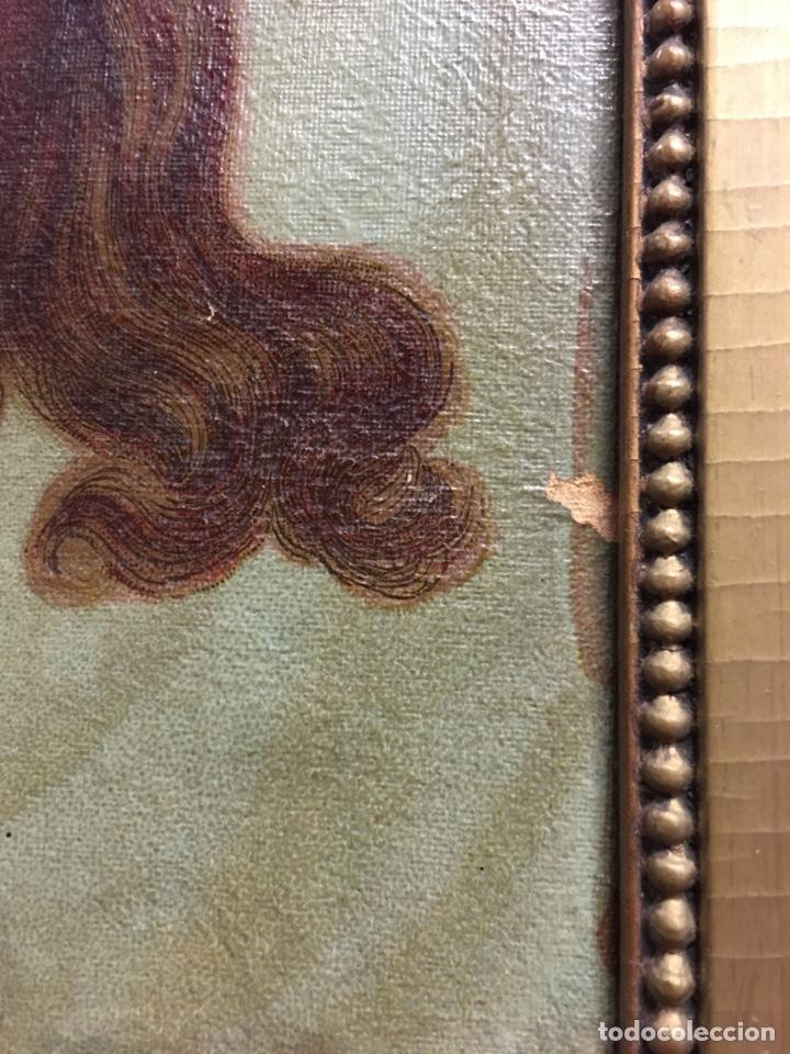 Arte: Antiguo óleo sobre lienzo, retrato de Jesucristo sangrando com corona de espinas, marco de madera - Foto 9 - 247275340