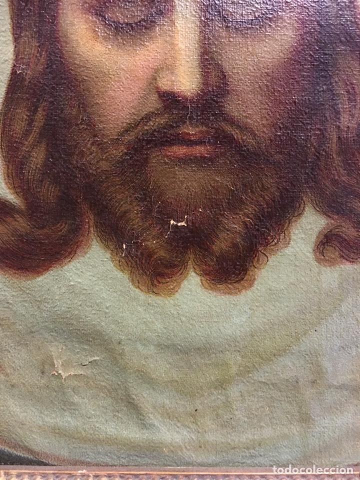 Arte: Antiguo óleo sobre lienzo, retrato de Jesucristo sangrando com corona de espinas, marco de madera - Foto 10 - 247275340