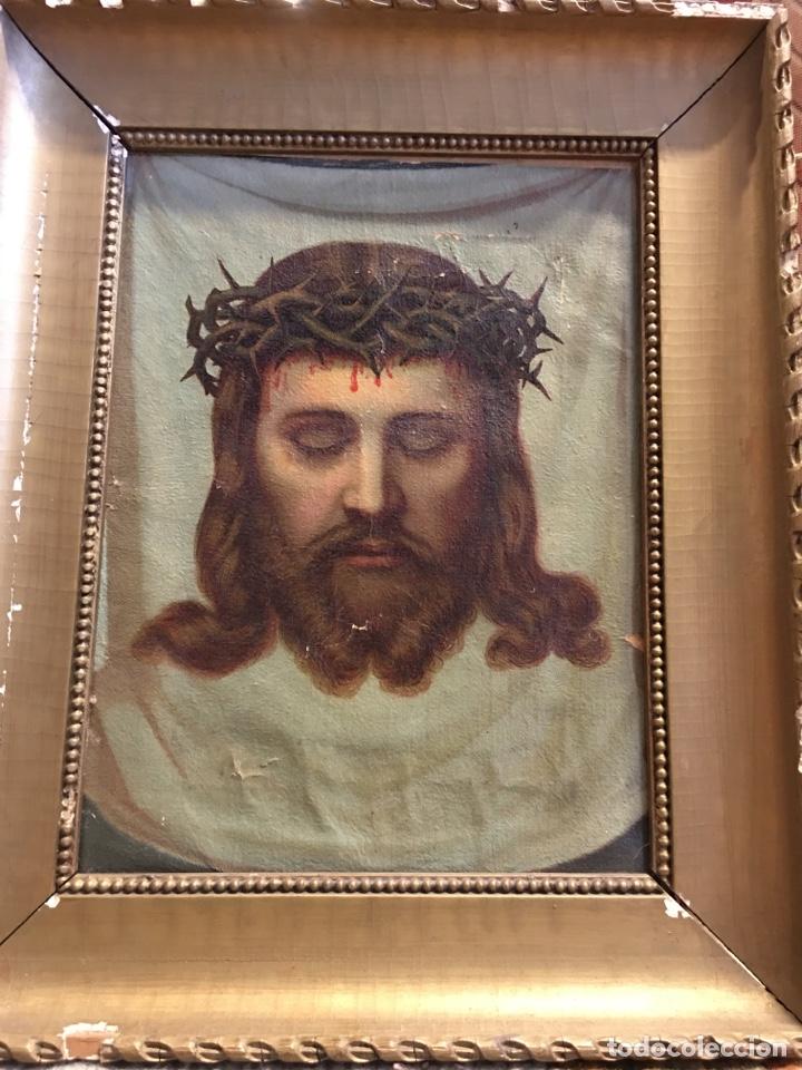 Arte: Antiguo óleo sobre lienzo, retrato de Jesucristo sangrando com corona de espinas, marco de madera - Foto 3 - 247275340