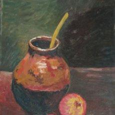 Arte: BODEGÓN DE CERÁMICA Y FRUTAS. ÓLEO SOBRE TABLA. CATALUÑA, MED. S. XX. MIDE 40 X 50 CM.. Lote 236458095