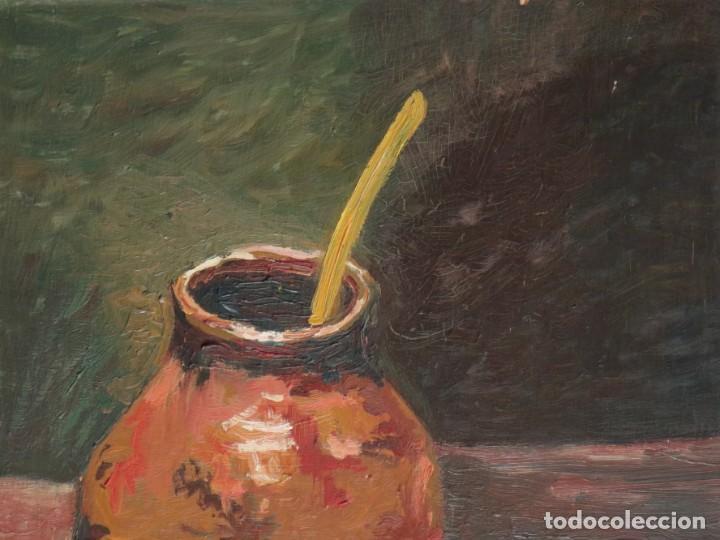 Arte: Bodegón de cerámica y frutas. Óleo sobre tabla. Cataluña, med. S. XX. Mide 40 x 50 cm. - Foto 2 - 236458095