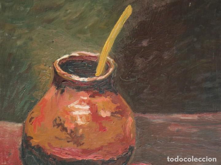 Arte: Bodegón de cerámica y frutas. Óleo sobre tabla. Cataluña, med. S. XX. Mide 40 x 50 cm. - Foto 3 - 236458095