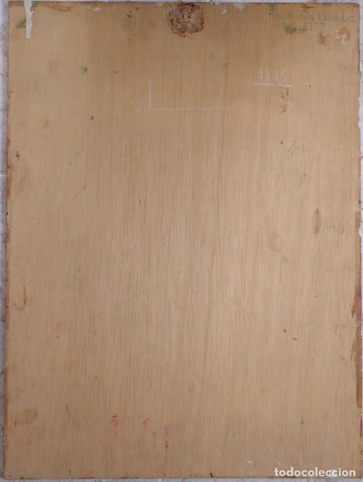 Arte: Bodegón de cerámica y frutas. Óleo sobre tabla. Cataluña, med. S. XX. Mide 40 x 50 cm. - Foto 7 - 236458095