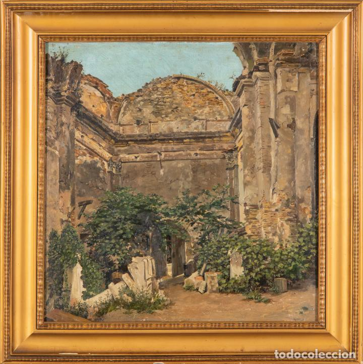 ÓLEO LIENZO RUINAS ESCUELA DE ROMA SIGLO XIX (Arte - Pintura - Pintura al Óleo Moderna siglo XIX)