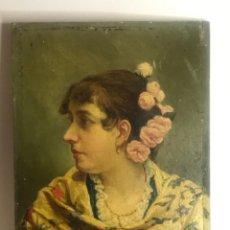 Arte: IMPORTANTE OLEO SOBRE MADERA FIRMADO L. DE MARÍA 1891. BELLA MUJER.. Lote 236472825