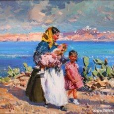 Arte: IGNACIO GIL SALA - FAMILIA IBICENCA - OLEO LIENZO - 36 X 44 CM.. Lote 236542485