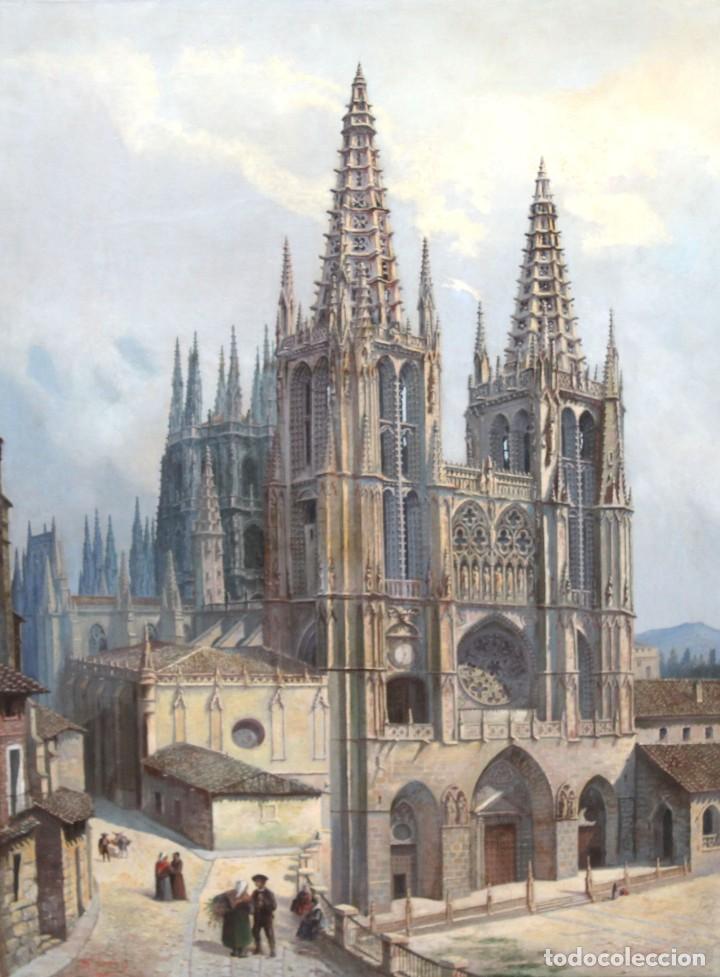 MANUEL FERNÁNDEZ SANAHUJA (MADRID, 1835 - 1884) OLEO SOBRE TELA DEL AÑO 1877. CATEDRAL DE BURGOS (Arte - Pintura - Pintura al Óleo Moderna siglo XIX)
