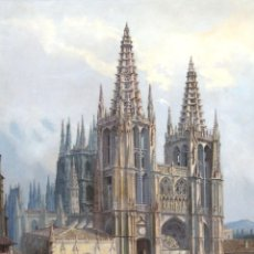 Arte: MANUEL FERNÁNDEZ SANAHUJA (MADRID, 1835 - 1884) OLEO SOBRE TELA DEL AÑO 1877. CATEDRAL DE BURGOS. Lote 236548955