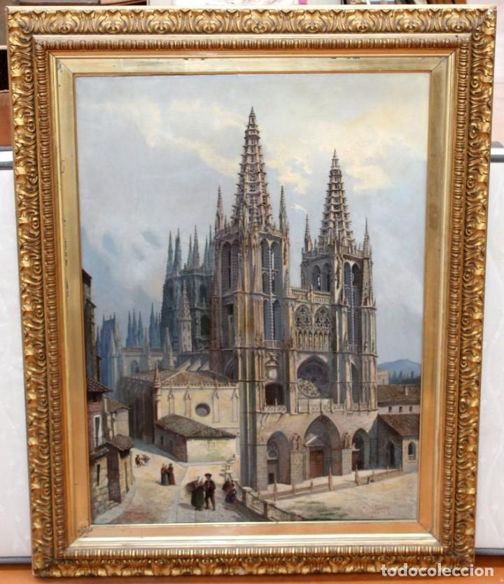 Arte: MANUEL FERNÁNDEZ SANAHUJA (Madrid, 1835 - 1884) OLEO SOBRE TELA DEL AÑO 1877. CATEDRAL DE BURGOS - Foto 2 - 236548955