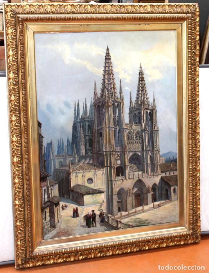 Arte: MANUEL FERNÁNDEZ SANAHUJA (Madrid, 1835 - 1884) OLEO SOBRE TELA DEL AÑO 1877. CATEDRAL DE BURGOS - Foto 3 - 236548955