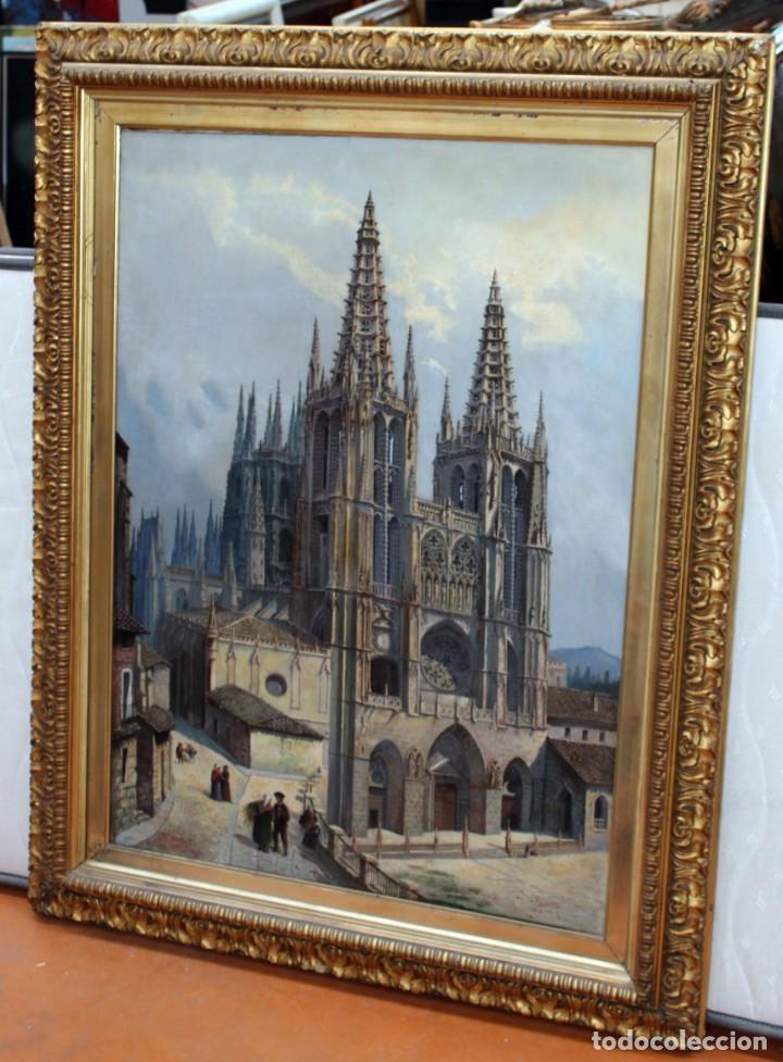 Arte: MANUEL FERNÁNDEZ SANAHUJA (Madrid, 1835 - 1884) OLEO SOBRE TELA DEL AÑO 1877. CATEDRAL DE BURGOS - Foto 4 - 236548955