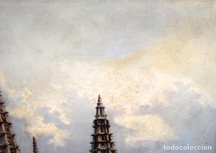Arte: MANUEL FERNÁNDEZ SANAHUJA (Madrid, 1835 - 1884) OLEO SOBRE TELA DEL AÑO 1877. CATEDRAL DE BURGOS - Foto 6 - 236548955