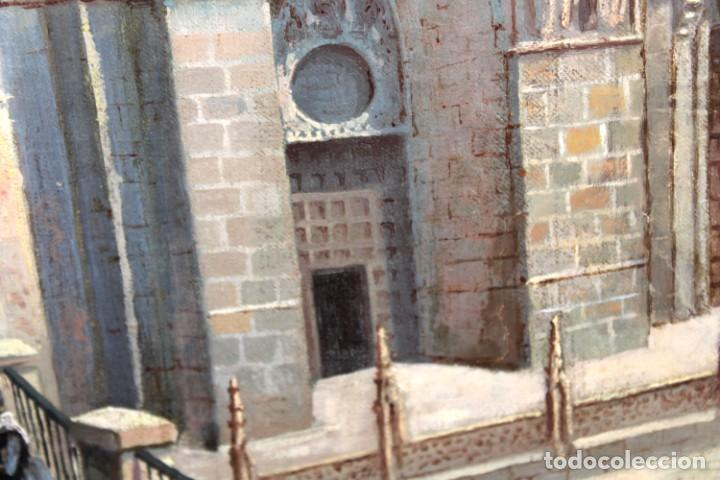 Arte: MANUEL FERNÁNDEZ SANAHUJA (Madrid, 1835 - 1884) OLEO SOBRE TELA DEL AÑO 1877. CATEDRAL DE BURGOS - Foto 7 - 236548955