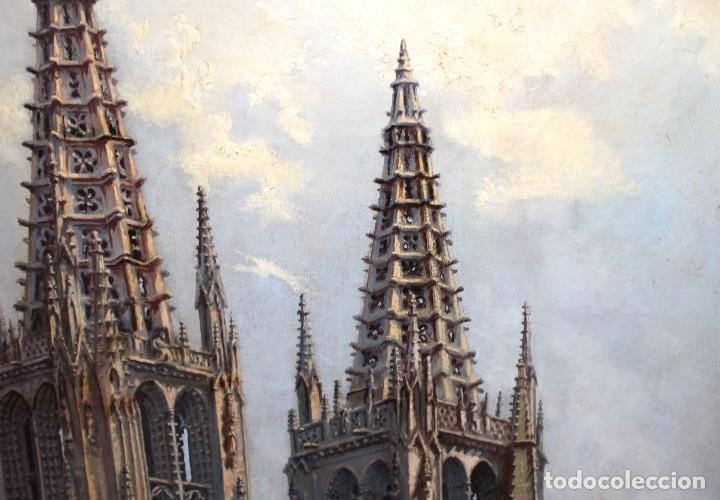 Arte: MANUEL FERNÁNDEZ SANAHUJA (Madrid, 1835 - 1884) OLEO SOBRE TELA DEL AÑO 1877. CATEDRAL DE BURGOS - Foto 10 - 236548955
