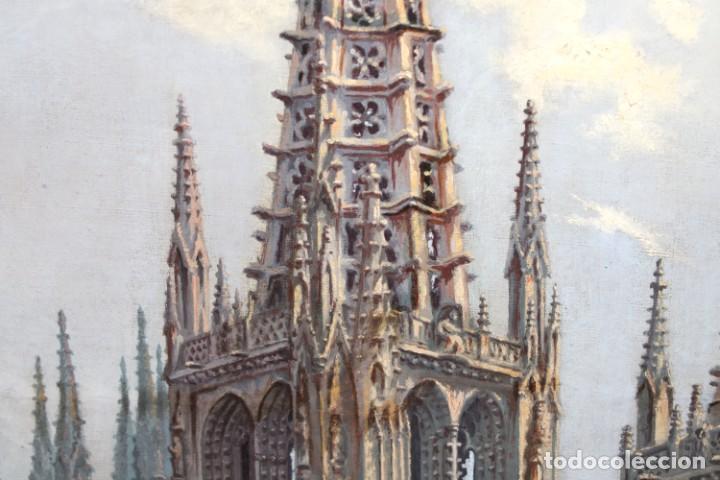 Arte: MANUEL FERNÁNDEZ SANAHUJA (Madrid, 1835 - 1884) OLEO SOBRE TELA DEL AÑO 1877. CATEDRAL DE BURGOS - Foto 11 - 236548955