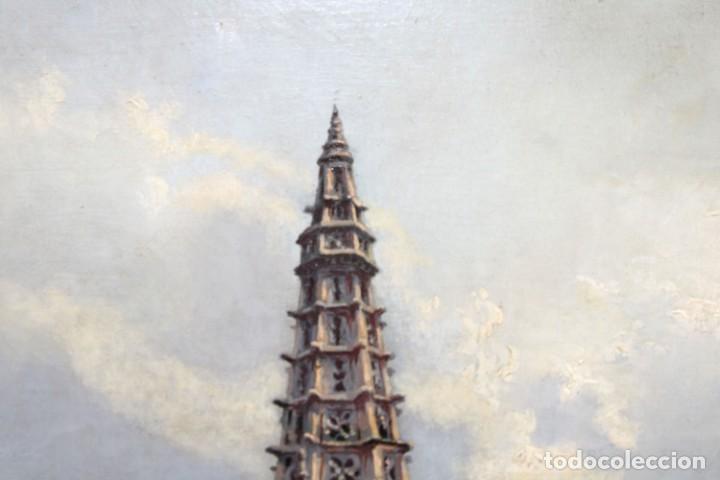 Arte: MANUEL FERNÁNDEZ SANAHUJA (Madrid, 1835 - 1884) OLEO SOBRE TELA DEL AÑO 1877. CATEDRAL DE BURGOS - Foto 12 - 236548955
