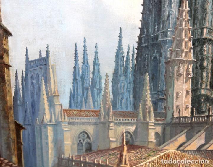 Arte: MANUEL FERNÁNDEZ SANAHUJA (Madrid, 1835 - 1884) OLEO SOBRE TELA DEL AÑO 1877. CATEDRAL DE BURGOS - Foto 13 - 236548955