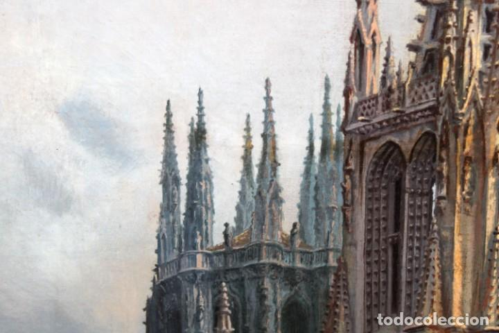 Arte: MANUEL FERNÁNDEZ SANAHUJA (Madrid, 1835 - 1884) OLEO SOBRE TELA DEL AÑO 1877. CATEDRAL DE BURGOS - Foto 14 - 236548955