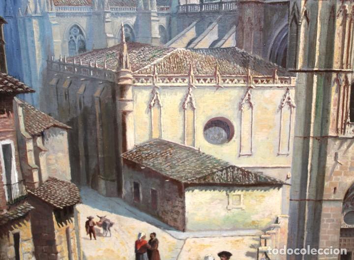 Arte: MANUEL FERNÁNDEZ SANAHUJA (Madrid, 1835 - 1884) OLEO SOBRE TELA DEL AÑO 1877. CATEDRAL DE BURGOS - Foto 17 - 236548955
