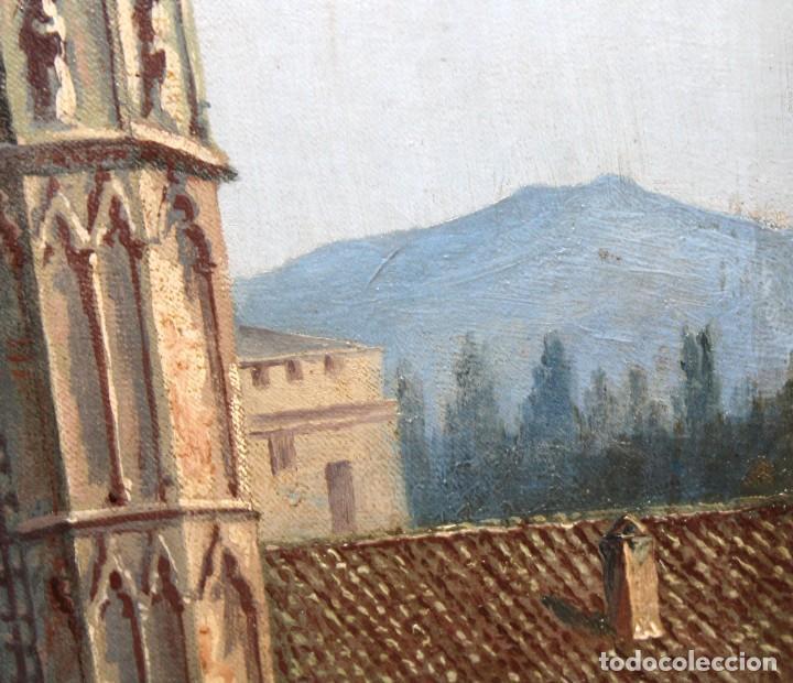 Arte: MANUEL FERNÁNDEZ SANAHUJA (Madrid, 1835 - 1884) OLEO SOBRE TELA DEL AÑO 1877. CATEDRAL DE BURGOS - Foto 19 - 236548955