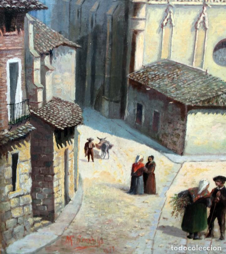 Arte: MANUEL FERNÁNDEZ SANAHUJA (Madrid, 1835 - 1884) OLEO SOBRE TELA DEL AÑO 1877. CATEDRAL DE BURGOS - Foto 24 - 236548955