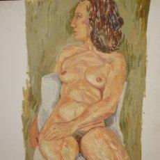 Arte: DESNUDO. OLEO SOBRE TABLA.- ESTILO LUCIAN FREUD - ENVIO CERTIFICADO INCLUIDO.. Lote 236589215