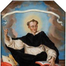 Arte: ÓLEO BAJO CRISTAL SAN VICENTE FERRER ESCUELA VALENCIANA SIGLO XVIII MARCO DE ÉPOCA. Lote 236609075