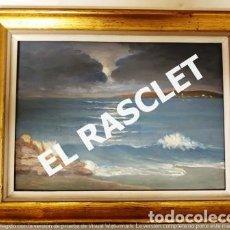 Arte: ANTIGUO CUADRO CON MARCO PINTADO AL OLEO SOBRE MADERA - ATARDECER - AÑOS 60 -. Lote 236617890