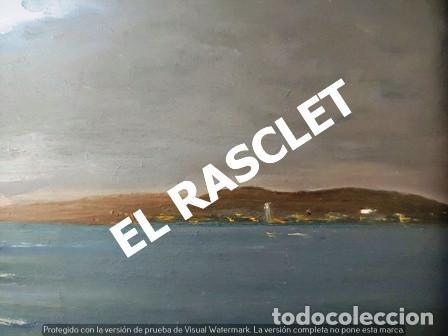 Arte: ANTIGUO CUADRO CON MARCO PINTADO AL OLEO SOBRE MADERA - ATARDECER - AÑOS 60 - - Foto 8 - 236617890