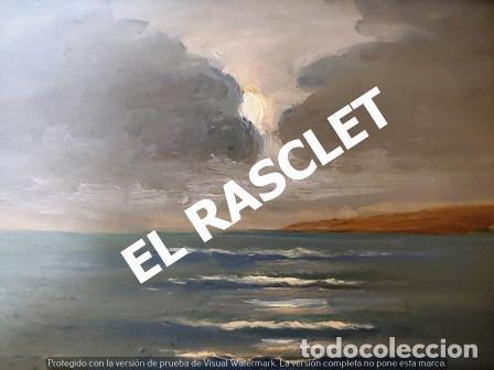 Arte: ANTIGUO CUADRO CON MARCO PINTADO AL OLEO SOBRE MADERA - ATARDECER - AÑOS 60 - - Foto 9 - 236617890