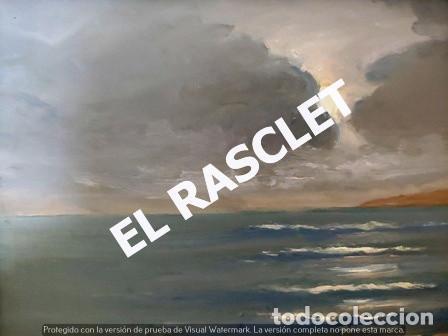 Arte: ANTIGUO CUADRO CON MARCO PINTADO AL OLEO SOBRE MADERA - ATARDECER - AÑOS 60 - - Foto 10 - 236617890