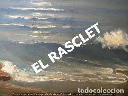 Arte: ANTIGUO CUADRO CON MARCO PINTADO AL OLEO SOBRE MADERA - ATARDECER - AÑOS 60 - - Foto 11 - 236617890