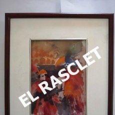 Arte: PINTURA ACARELA CON MARCO Y CRSITAL - MASCARAS VENECIA - JOSEP MARFA GUARRO - DE -BCN -. Lote 236623655