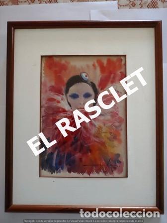 PINTURA ACARELA CON MARCO Y CRISTAL - MASCARAS VENECIA - JOSEP MARFA GUARRO - DE -BCN - (Arte - Pintura Directa del Autor)