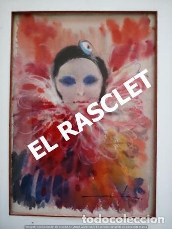 Arte: PINTURA ACARELA CON MARCO Y CRISTAL - MASCARAS VENECIA - JOSEP MARFA GUARRO - DE -BCN - - Foto 2 - 236624795