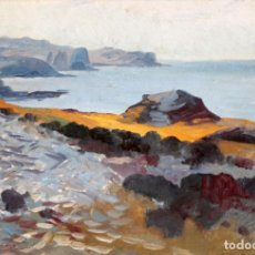 Arte: ANTONI ROS I GUELL (1873-1954) OLEO SOBRE TABLA. MARINA. Lote 236667295
