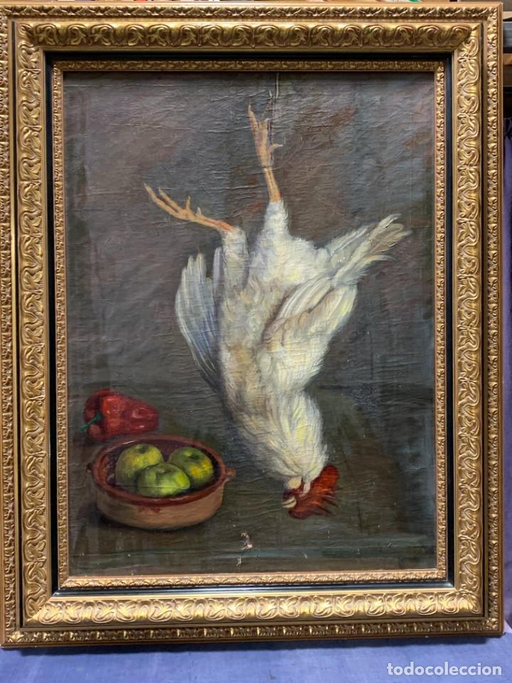 OLEO LIENZO BODEGON GALLO GALLINA MANZANAS VERDE PIMIENTO ROJO 101X81CMS (Arte - Pintura - Pintura al Óleo Moderna sin fecha definida)