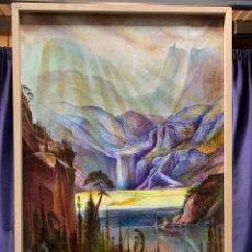 Arte: OLEO LIENZO PAISAJE ROCOSO ONIRICO SUEÑO CASCADA BOSQUE MONTAÑA AÑOS 80 NO FIRMA 95X63CMS. Lote 236726115