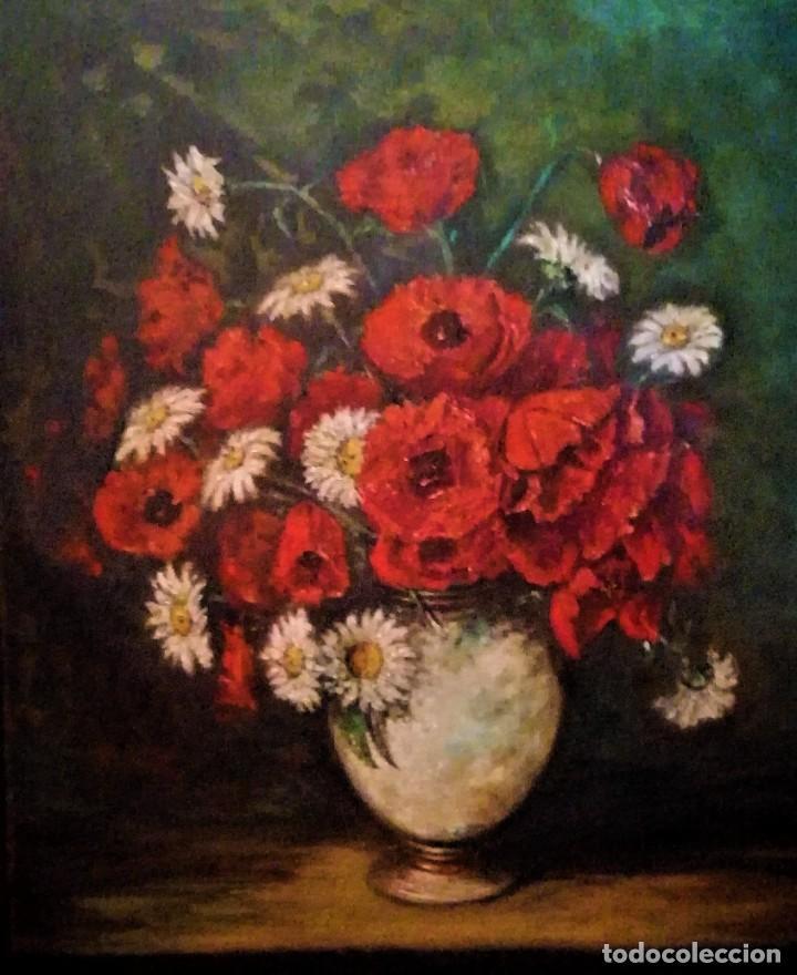 JARRON CON AMAPOLAS MUÑOZ MANDIVAS 1930 - 1939 (Arte - Pintura - Pintura al Óleo Moderna sin fecha definida)