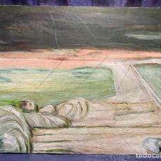 Arte: OLEO LIENZO PAISAJE CAMPO CAMINO NO FIRMA QUIZA BOCETO 54X65CMS. Lote 236748025